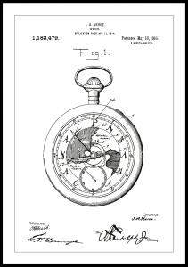 Patenttegning - Lommeur - Hvit Plakat