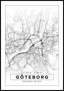 Kart - Göteborg - Poster - Hvit