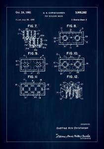 Patent Print - Lego Block II - Blue
