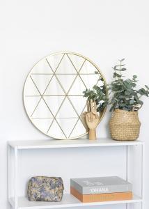 KAILA Rundt Speil Triangles - Gull 55 cm Ø