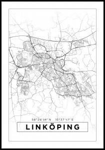 Kart - Linköping - Poster - Hvit Plakat