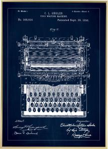 Patenttegning - Skrivemaskin - Blå
