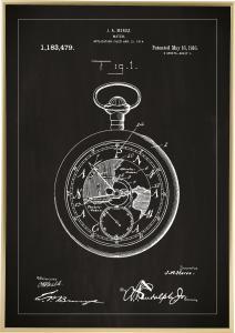 Patenttegning - Lommeur - Svart