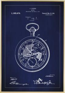 Patenttegning - Lommeur - Blå Plakat