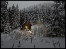 Hytte i vinterskrud Plakat