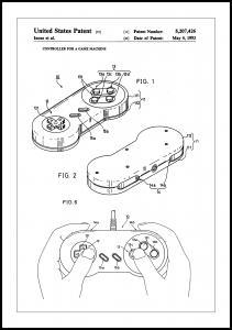 Patent Print - Game Controller I - White Plakat