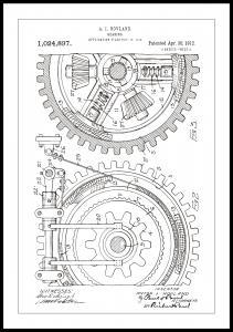 Patenttegning - Tannhjul - Hvit