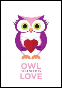 Owl You nedd is love - Rosa-Lila