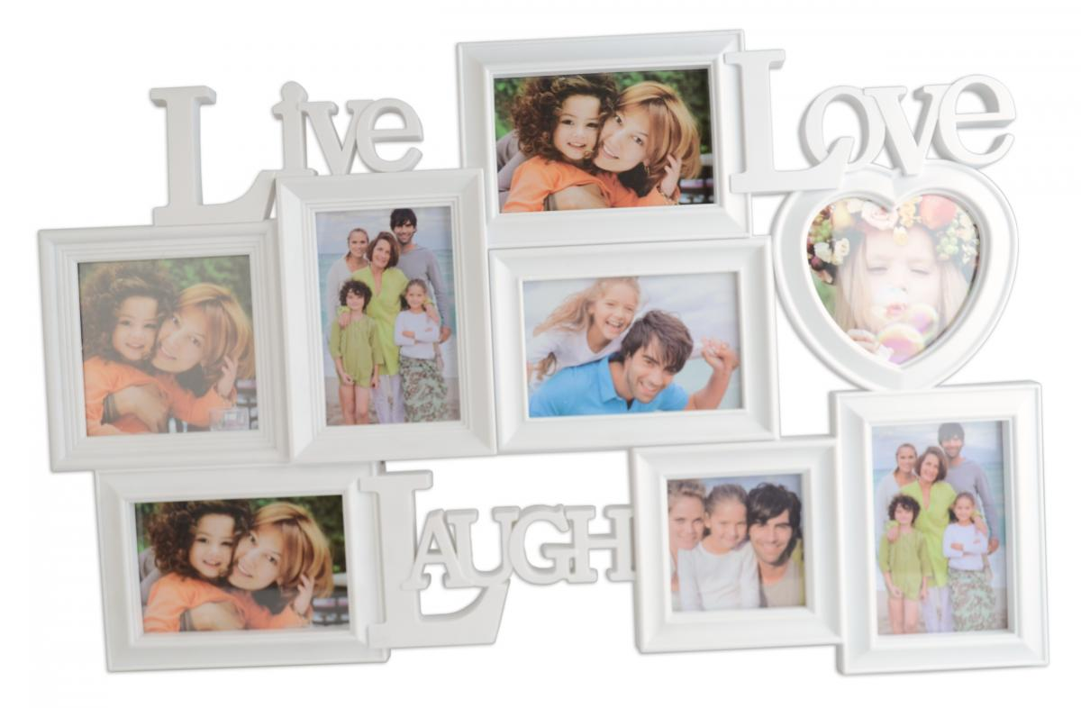 Live - Love - Laugh Hvit Collageramme - 8 Bilder