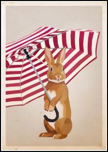 Rabbit with Umbrella Plakat