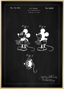 Patenttegning - Disney - Mickey - Svart