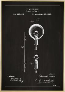 Patenttegning - Lyspære B - Svart Plakat