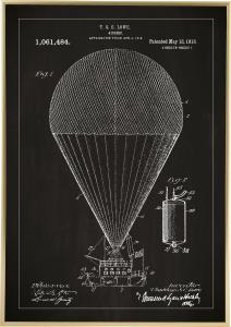 Patenttegning - Luftskip - Svart Plakat