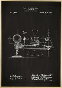 Patenttegning - Planetarium - Svart Plakat