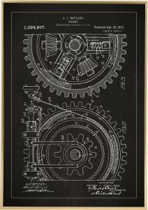 Patenttegning - Tannhjul - Svart Plakat