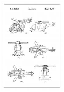 Patent Print - Lego Helicopter - White Plakat