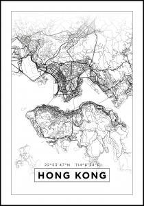 Kart - Hong Kong - Hvit Plakat