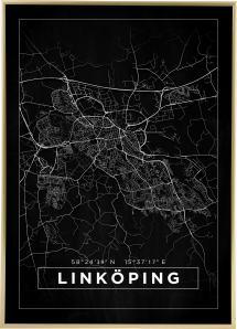 Kart - Linköping - Poster - Svart