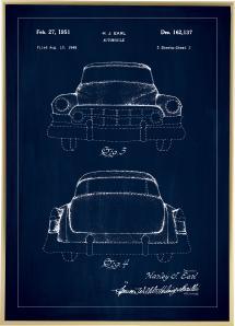 Patenttegning - Cadillac II - Blå