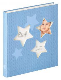 Estrella Babyalbum Blå - 28x30,5 cm (50 Hvite sider / 25 ark)