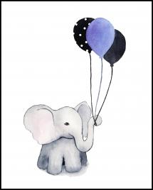 Elephant With Balloons Plakat