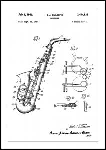 Patent Print - Saxophone - White Plakat