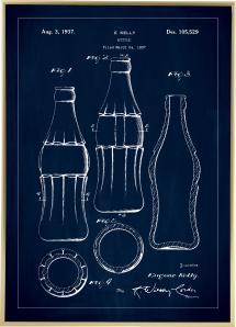 Patenttegning - Coca Cola-flaske - Blå