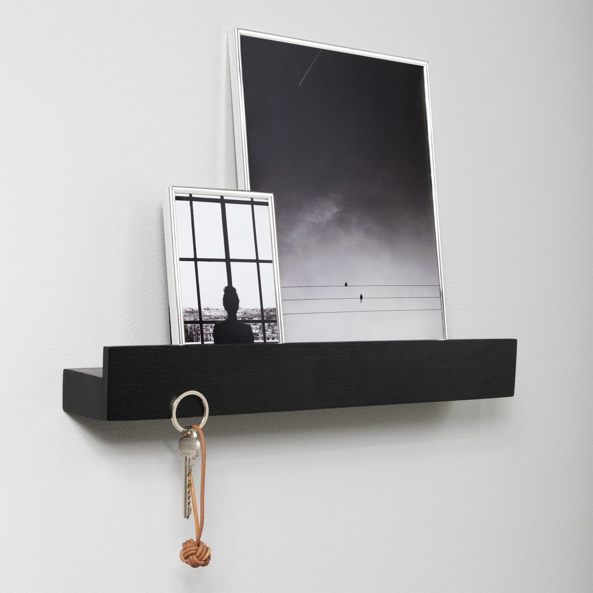 Magnet Shelf Black Painted Oak 60 cm